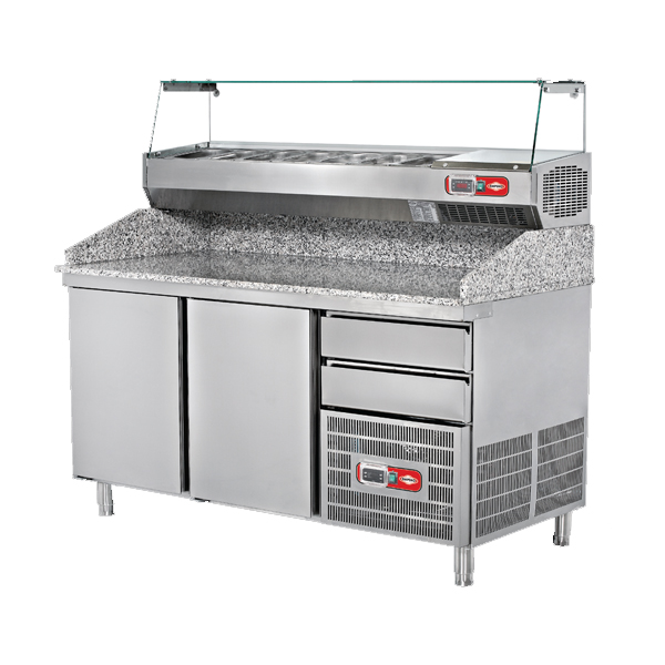 Refrigerated Pizza Preparation Counter with Granite Top